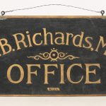 19th c. sand painted wooden trade sign
