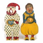 Lot (2) early painted wooden carnival toss figures.