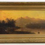 "19th c. Hudson River School ""Sailing On The Hudson"""