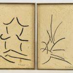 """Jaques Hurtubise (Nova Scotia/Quebec Canada 1939-2014), two abstracts, mixed media, both signed """"Hurtubise""""."""