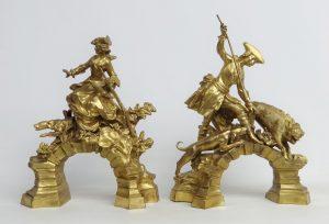 Pair Gilt Bronze Chenets