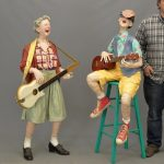 "Kay Ritter (American 20th Century), mixed media man and woman guitar players. 55"" and 58"" Ht.."
