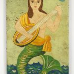 "Painting of a mermaid, oil on wooden panel. 24"" x 48""."