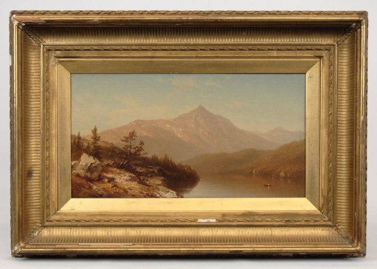 """Attributed to Sanford Robinson Gifford (Mass./N.Y. 1823-1880), """"Mountain Lake"""", oil on canvas"""
