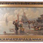 Lot 97. Adolf Baumgartner (Bulgaria, Russian Federation, Austria 1850-1924), harbor scene, oil on canvas