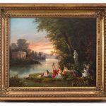Lot 4. Nicolino Calyo, Arcadian Landscape, Oil on Canvas
