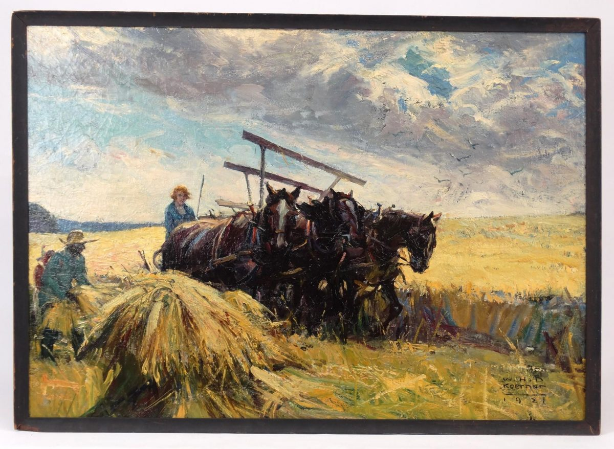 Lot 120. William Koerner (N.J./N.Y./MT./Germany 1878-1938), farming illustration, oil on canvas
