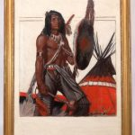 """Lot 209. Remington Schuyler (N.Y./MO. 1884-1955), """"Indian by Teepee"""", Native American illustration. Oil on canvas"""