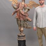 Lot 20. 18th c. polychrome painted Religious carved Angel with wings