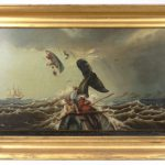 """Lot 50. William Coffin """"The Ship """"Susan"""" Whaling in the South Pacific in 1889"""", oil on canvas"""