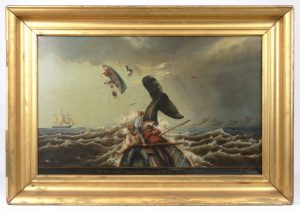 """William Coffin """"The Ship """"Susan"""" Whaling in the South Pacific in 1889"""", oil on canvas"""