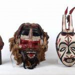 Lot (3) carved and painted wooden African masks