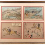 """Lot 92. Series of (4) framed Native American ledger drawings """"Drawing made by Indian Boy at Hampton School, Va."""""""