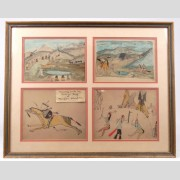 Series of (4) framed Native American ledger drawings