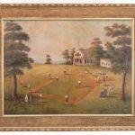 American School, large impressive baseball game, oil on canvas