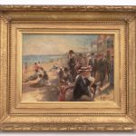 "Gilbert Gaul (N.Y./TN./N.J. 1855-1919), ""A Day At The Beach"", oil on copper."