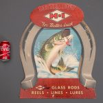 Vintage cardboard fishing advertising display
