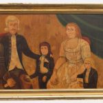 "American School, 19th c. family portrait. Signed ""Silas Rhykill, 1803"". Oil on artist board"