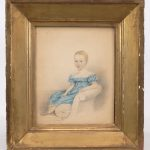 19th c. watercolor of a child. Info verso
