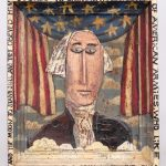 Jim Lambert folk art polychrome painted artwork. George Washington