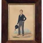 19th c. watercolor of a young boy. Info verso