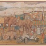 Reynolds Beal (Mass./R.I./N.Y., 1866-1951), Circus, colored pencil on paper