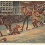 "Everett Shinn (N.Y./Penna. 1876-1953), ""Dickensian Snowball Fight"", signed and dated 1939 LRC"