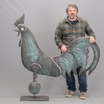 "Monumental rooster weathervane in verdigris patina. 54"" W., 57"" Ht.."