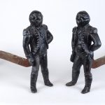 Pair Cast Iron George Washington Andirons
