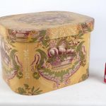 19th c. wallpaper hat box. Labeled underside.