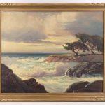 George Bickerstaff (California/Arkansas 1893-1954), coastal landscape oil on masonite.