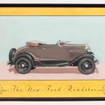 "130. Early original Ford Roadster artwork ""The New Ford Roadster"". Artist signed ""R. Hunold"""