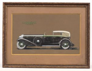 "160. Original Isotta Fraschini Showroom Artwork, ""CASTAGNA MILANO""."