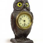 Early spelter metal figural owl clock