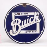 "19. Trade sign, ""Buick Valve In Head Motor Cars"". Single Sided, porcelain"