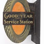 "3. Trade sign, C. 1915, double sided, metal, ""Goodyear Akron Service Station"""