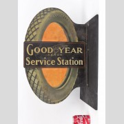 "Trade sign, C. 1915, double sided, metal, ""Goodyear Akron Service Station"""