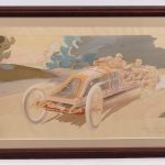 "41. Early French Automobile racing lithograph ""SZISZ SUR VOITURE RENAULT...."". Artist ""Montaut"""