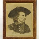 Rare General Armstrong Custer pen and ink portrait