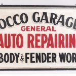 "5. Trade sign, wooden ""Occo Garage General Auto Repairing Body & Fender Work"""