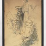 68. Karl Anderson (Ct. / OH. 1874-1956), woman standing next to early car, watercolor an/or gouache