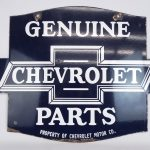 "9. Trade sign, ""Genuine Chevrolet Parts"". Double sided, porcelain"