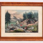 "19th c. Currier & Ives print ""GOLD MINING IN CALIFORNIA"". The Old Print Shop label verso"