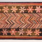 19th c. Geometric Hooked Rug