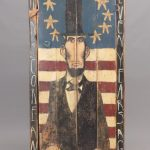 Jim Lambert folk art painted Lincoln cupboard