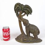 "C. 1920 cast iron elephant doorstop. Marked backside ""8"". National Foundry, Whitman, Mass"