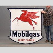 C. 1938 double sided enameled Mobil sign