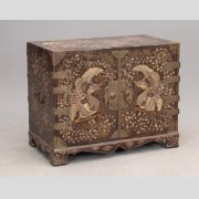 Asian inlaid and brass mounted two door chest