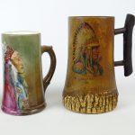 114. Lot (2) mugs with Native American portraits