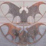 Pair iron bat architectural windows.